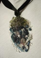Ciondolo in Murano grigio e blu con collier...