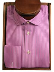 Peony-white stripe shirt french cuff